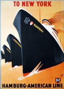 Vintage German shipping poster - To New York